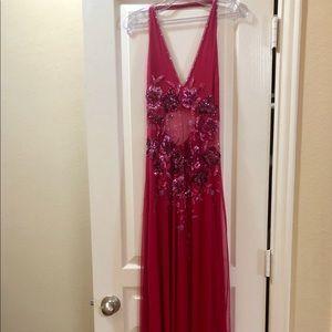 Magenta beaded prom dress